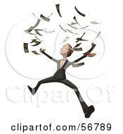 Royalty Free RF Clipart Illustration Of A 3d White Businessman Character Throwing Money Version 3