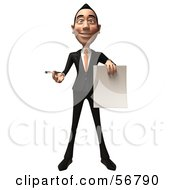 Royalty Free RF Clipart Illustration Of A 3d White Businessman Character Holding A Blank Contract Version 1