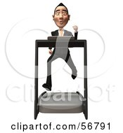 Royalty Free RF Clipart Illustration Of A 3d White Businessman Character Running On A Treadmill Version 1