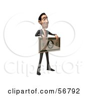 Royalty Free RF Clipart Illustration Of A 3d White Businessman Character Holding A Large Banknote Version 2