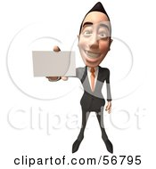 Royalty Free RF Clipart Illustration Of A 3d White Businessman Character Holding Out A Business Card Version 2