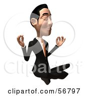 Royalty Free RF Clipart Illustration Of A 3d White Businessman Character Meditating Version 1