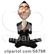 Royalty Free RF Clipart Illustration Of A 3d White Businessman Character Meditating Version 3
