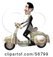 Royalty Free RF Clipart Illustration Of A 3d White Businessman Character Riding A Scooter Version 2