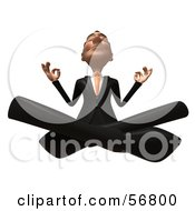 Royalty Free RF Clipart Illustration Of A 3d White Businessman Character Meditating Version 4