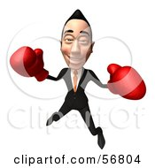 Royalty Free RF Clipart Illustration Of A 3d White Businessman Character Boxing Version 5