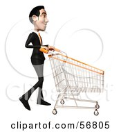Royalty Free RF Clipart Illustration Of A 3d White Businessman Character Pushing A Shopping Cart Version 2