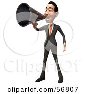 Royalty Free RF Clipart Illustration Of A 3d White Businessman Character Using A Megaphone Version 1