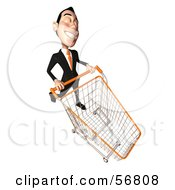 Royalty Free RF Clipart Illustration Of A 3d White Businessman Character Pushing A Shopping Cart Version 6