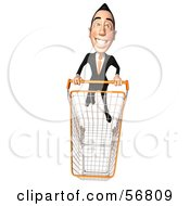 Royalty Free RF Clipart Illustration Of A 3d White Businessman Character Pushing A Shopping Cart Version 5