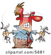Angry Red Faced Man Holding Torn Computer Wires Clipart Illustration