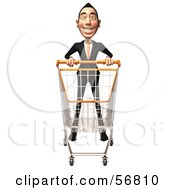 Royalty Free RF Clipart Illustration Of A 3d White Businessman Character Pushing A Shopping Cart Version 1