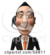 Royalty Free RF Clipart Illustration Of A 3d White Businessman Character Wearing A Headset Version 1