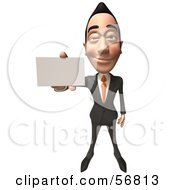 Royalty Free RF Clipart Illustration Of A 3d White Businessman Character Holding Out A Business Card Version 3