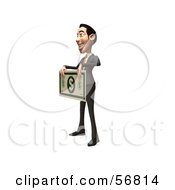 Royalty Free RF Clipart Illustration Of A 3d White Businessman Character Holding A Large Banknote Version 3