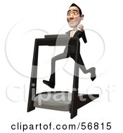 Royalty Free RF Clipart Illustration Of A 3d White Businessman Character Running On A Treadmill Version 3