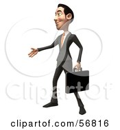 Royalty Free RF Clipart Illustration Of A 3d White Businessman Character Holding His Hand Out To Shake Version 2