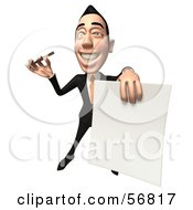 Royalty Free RF Clipart Illustration Of A 3d White Businessman Character Holding A Blank Contract Version 4