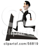 Royalty Free RF Clipart Illustration Of A 3d White Businessman Character Running On A Treadmill Version 2