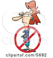 Woman With A Rejection Symbol Laid Off Inequality Clipart Illustration by toonaday
