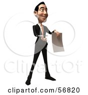 Royalty Free RF Clipart Illustration Of A 3d White Businessman Character Holding A Blank Contract Version 2
