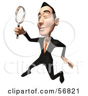Royalty Free RF Clipart Illustration Of A 3d White Businessman Character Using A Magnifying Glass Version 4