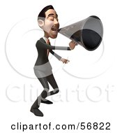 Royalty Free RF Clipart Illustration Of A 3d White Businessman Character Using A Megaphone Version 2