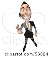Royalty Free RF Clipart Illustration Of A 3d White Businessman Character Wearing A Headset And Pointing His Fingers Like A Gun Version 1