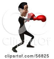Royalty Free RF Clipart Illustration Of A 3d White Businessman Character Boxing Version 1