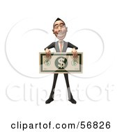 Royalty Free RF Clipart Illustration Of A 3d White Businessman Character Holding A Large Banknote Version 1