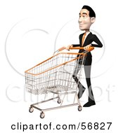 Royalty Free RF Clipart Illustration Of A 3d White Businessman Character Pushing A Shopping Cart Version 3