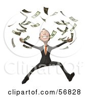 Royalty Free RF Clipart Illustration Of A 3d White Businessman Character Throwing Money Version 2