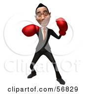 Royalty Free RF Clipart Illustration Of A 3d White Businessman Character Boxing Version 3