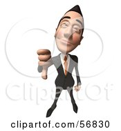 Royalty Free RF Clipart Illustration Of A 3d White Businessman Character Giving The Thumbs Down