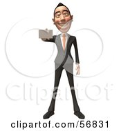 Royalty Free RF Clipart Illustration Of A 3d White Businessman Character Holding Out A Business Card Version 1