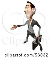 Royalty Free RF Clipart Illustration Of A 3d White Businessman Character Holding His Hand Out To Shake Version 4