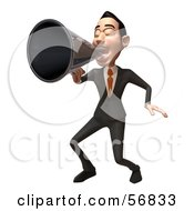 Royalty Free RF Clipart Illustration Of A 3d White Businessman Character Using A Megaphone Version 3