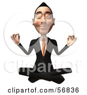 Royalty Free RF Clipart Illustration Of A 3d White Businessman Character Meditating Version 2 by Julos