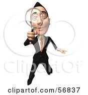 Royalty Free RF Clipart Illustration Of A 3d White Businessman Character Using A Magnifying Glass Version 3