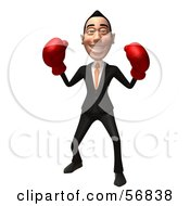 Royalty Free RF Clipart Illustration Of A 3d White Businessman Character Boxing Version 2 by Julos
