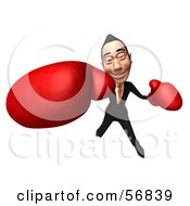 3d White Businessman Character Boxing - Version 6