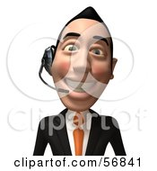 Royalty Free RF Clipart Illustration Of A 3d White Businessman Character Wearing A Headset Version 2 by Julos