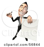 Royalty Free RF Clipart Illustration Of A 3d White Businessman Character Holding A Blank Contract Version 3 by Julos