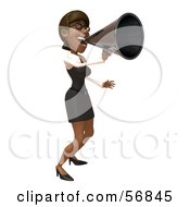 Royalty Free RF Clipart Illustration Of A 3d Black Businesswoman Character Using A Megaphone Version 2 by Julos