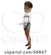 3d Black Businesswoman Character Holding A Laptop - Version 3