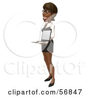 Royalty Free RF Clipart Illustration Of A 3d Black Businesswoman Character Holding A Laptop Version 3 by Julos