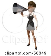 3d Black Businesswoman Character Using A Megaphone - Version 1