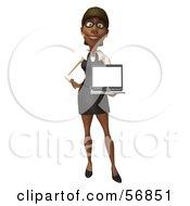 3d Black Businesswoman Character Holding A Laptop - Version 1