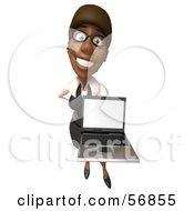 3d Black Businesswoman Character Holding A Laptop - Version 4