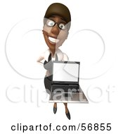 Royalty Free RF Clipart Illustration Of A 3d Black Businesswoman Character Holding A Laptop Version 4 by Julos